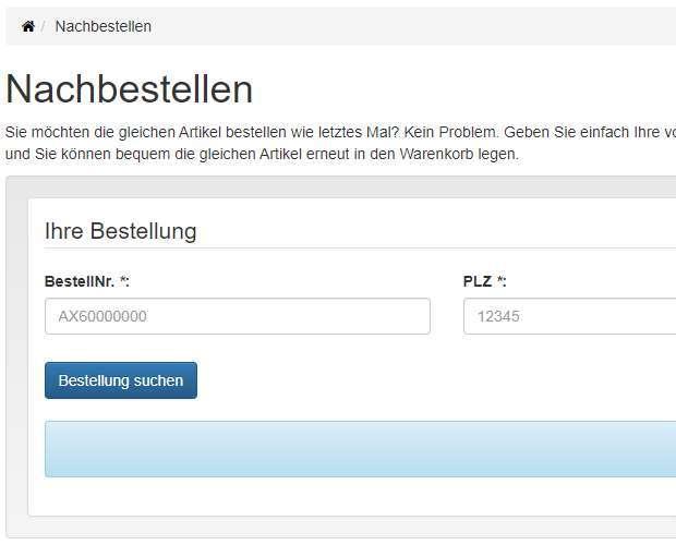 Nachbestellen Screenshot - Bestellung suchen